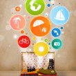 Suitcase with colorful summer icons and symbols — Stock Photo #47939357