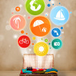 Suitcase with colorful summer icons and symbols — Stock Photo #48222641