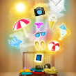 Tourist bag with colorful summer icons and symbols — Stock Photo #48222731