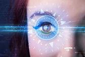 Cyber girl technologie okem do blue iris — Stock fotografie