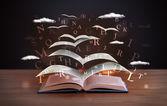 Sayfaları ve parlak harfler bir kitaptan uçan — Stok fotoğraf