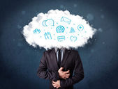 Hombre de traje con cabeza de nube e iconos azules — Foto de Stock
