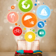 Suitcase with colorful summer icons and symbols — Stock Photo #48512975