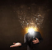Business man with glowing exploding head — Stock Photo