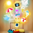 Tourist bag with colorful summer icons and symbols — Stock Photo #48865791