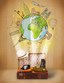 Luggage with travel around the world illustration concept — Stock fotografie