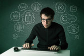 Young nerd hacker with virus and hacking thoughts — Stockfoto