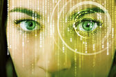 Modern cyber woman with matrix eye  — Stockfoto