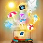 torba turystyczna z letnich kolorowe ikony i symbole — Zdjęcie stockowe