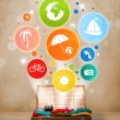Suitcase with colorful summer icons and symbols — Stock Photo #49246137