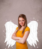 Person with angel illustrated wings — Foto Stock