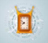 Hodiny práce a termín kolem psaní — Stock fotografie