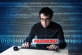 Young geek hacker stealing password  — Zdjęcie stockowe