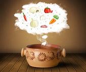 чаша суп с овощных ингредиентов иллюстрации в облаке — Стоковое фото