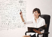 Young woman sketching and calculating thoughts — Stock Photo