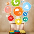 Suitcase with colorful summer icons and symbols — Stock Photo #49618521
