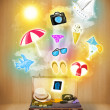 Tourist bag with colorful summer icons and symbols — Stock Photo #49618553