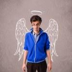 jonge man met vleugels engel geïllustreerd — Stockfoto