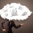 Elegant business man cloud head with hand drawn graphs — Stock Photo