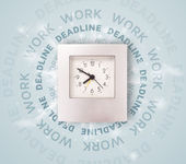 Clocks with work and deadline round writing — Foto Stock