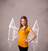 Cute girl with jet pack rocket drawing illustration — Stock Photo