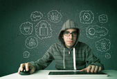 Young nerd hacker with virus and hacking thoughts — Stok fotoğraf