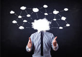 Business man with cloud network head  — Stock Photo