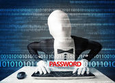 Hacker in morph 3d mask stealing password  — Stock Photo