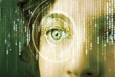 Modern cyber woman with matrix eye  — Foto Stock