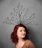 Mulher jovem com as linhas emaranhadas da cabeça dela — Foto Stock