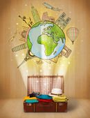 Luggage with travel around the world illustration concept — Stockfoto