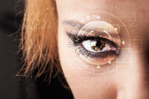 Cyber girl with technolgy eye looking — Stock Photo