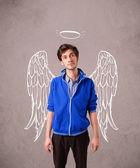 Mladý muž s křídly anděla ilustrované — Stock fotografie