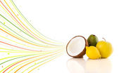 Healthy tropical fruits with colorful abstract lines — Stock Photo