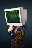 Cyber human with a monitor screen and computer code on the displ — Stock Photo