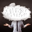 Business man cloud head with question and exclamation marks — Stock Photo #50331349