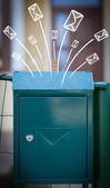 Hand drawn envelopes comming out of a mailbox — Stock Photo