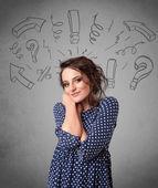 Sevimli genç kız soru işareti ile doodles — Stok fotoğraf