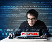 Young geek hacker stealing password  — Foto de Stock