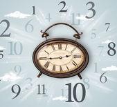 Ročník hodiny s číslicemi na straně — Stock fotografie