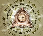 Okrągłe zegary z pracy oraz terminu pisania — Zdjęcie stockowe
