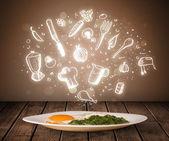 Тарелку с едой с иконами белая кухня — Стоковое фото