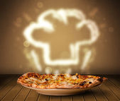Delicious pizza with chef cook hat steam illustration — Stock Photo