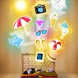 Tourist bag with colorful summer icons and symbols — Stock Photo #50773645