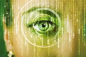 Moderne cyber-frau mit matrix-auge — Stockfoto