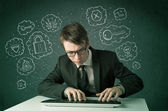 Young nerd hacker with virus and hacking thoughts — Stock Photo