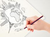 Hand drawing vacation trip around the earth with landmarks and c — Stock Photo