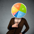 Young woman holding a pie chart — Stock Photo #51148897