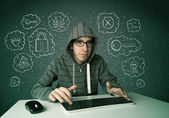 Hacker giovane nerd con virus e hacking pensieri — Foto Stock