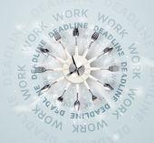 Klockor med arbete och tidsfristen runda skrift — Stockfoto